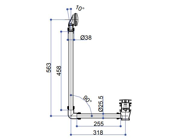 Nostalgie Ab- und Überlaufgarnitur   mit  Push System Ablauf